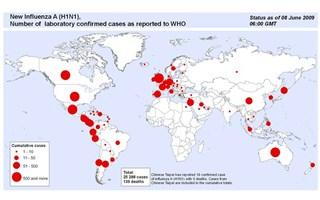 Carte des foyers de Grippe A/H1N1 dans le monde
