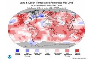Mars 2015, le plus chaud depuis136 ans