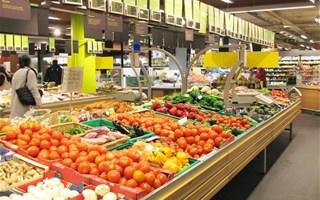 Rayon fruits légumes supermarché