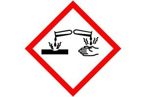 Étiquette produit corrosif